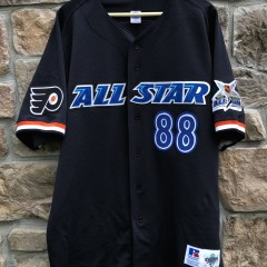 vintage 1999 Eric Lindros Philadelphia Flyers Authentic Russell Diamond Collection NHL All Star Game Baseball Jersey size 52 XXL