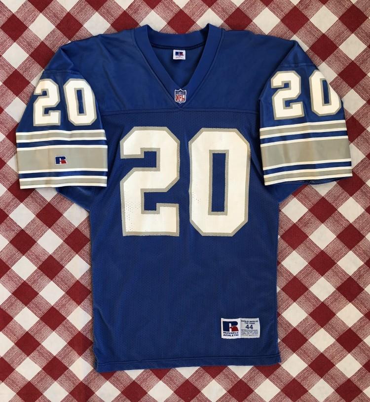 best service 66ffc c246e 90's Barry Sanders Detroit Lions Authentic Russell NFL Jersey Size 44