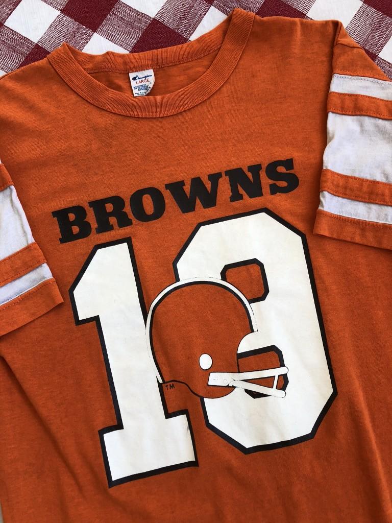 ee0baf06 80's Cleveland Browns Bernie Kosar Champion NFL Helmet T-Shirt ...