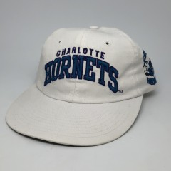 vintage 90's Starter arch Charlotte Hornets NBA snapback hat white long bill