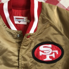 vintage 80's San Francisco 49ers  stadium club gold satin jacket size large