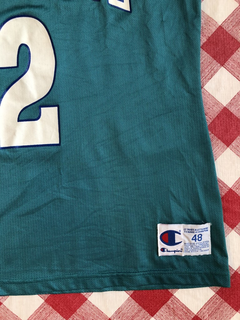 Vintage 90 s Larry Johnson Charlotte Hornets Champion NBA jersey size 48 XL b1ab45df8