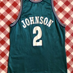 Vintage 90's Larry Johnson Charlotte Hornets Champion NBA jersey size 48 XL