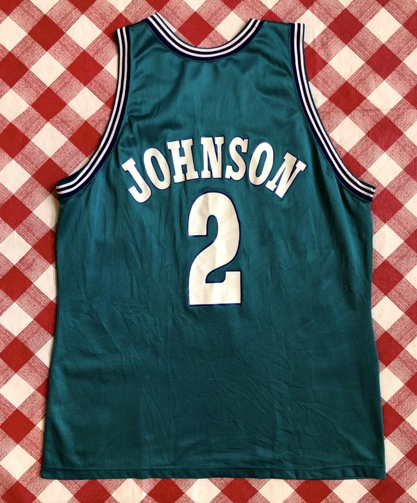 ede6095bb Vintage 90 s Larry Johnson Charlotte Hornets Champion NBA jersey size 48 XL