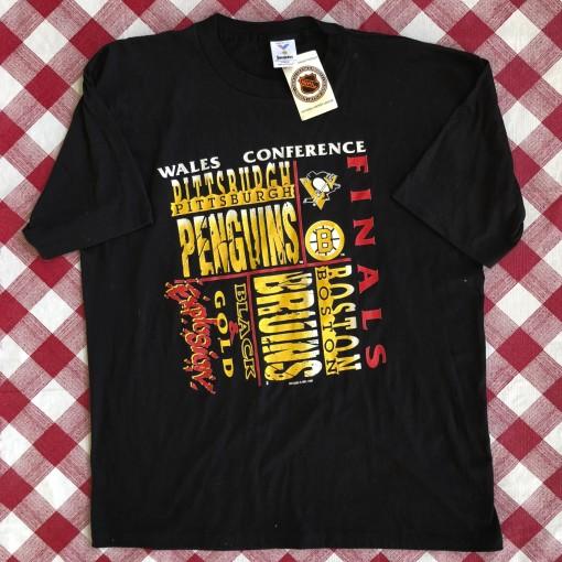 vintage 1991 Pittsburgh penguins vs boston bruns wales conference finals t shirt size XL