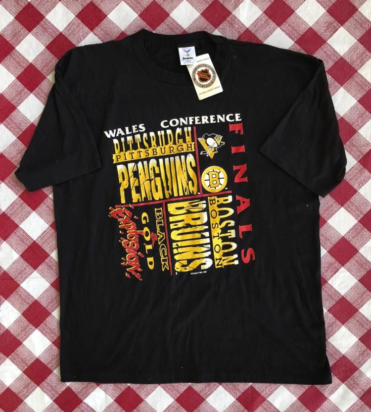 e7255d5689c6 vintage 1991 Pittsburgh penguins vs boston bruns wales conference finals t  shirt size XL