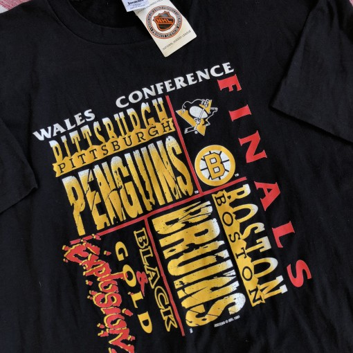 vintage 1991 Pittsburgh penguins vs boston bruns wales conference finals t shirt size XL