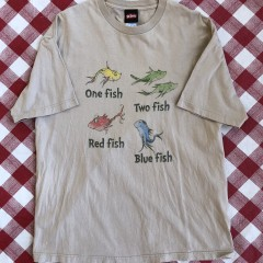 vintage 2001 dr seuss one fish two fish red fish blue fish t shirt size XL