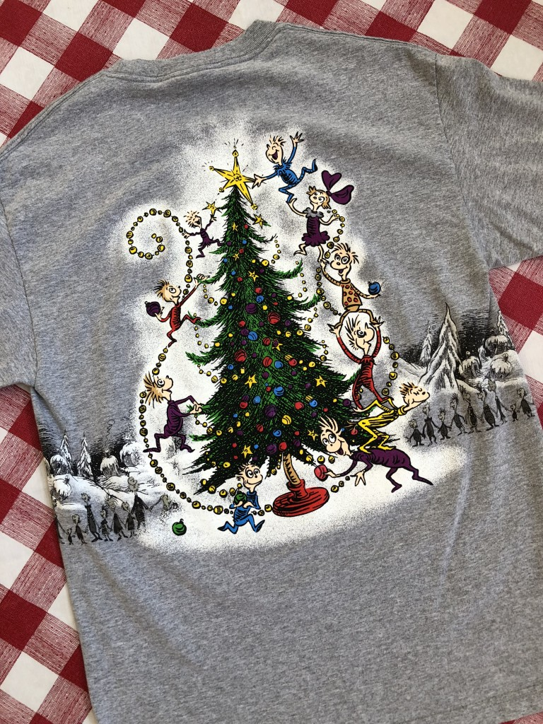 2001 Dr. Seuss how the grinch stole christmas double sided sleigh t shirt  grey size a8f0d2ccd