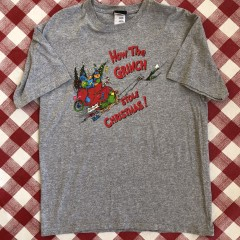 vintage 2001 Dr. Seuss how the grinch stole christmas grey t shirt size large