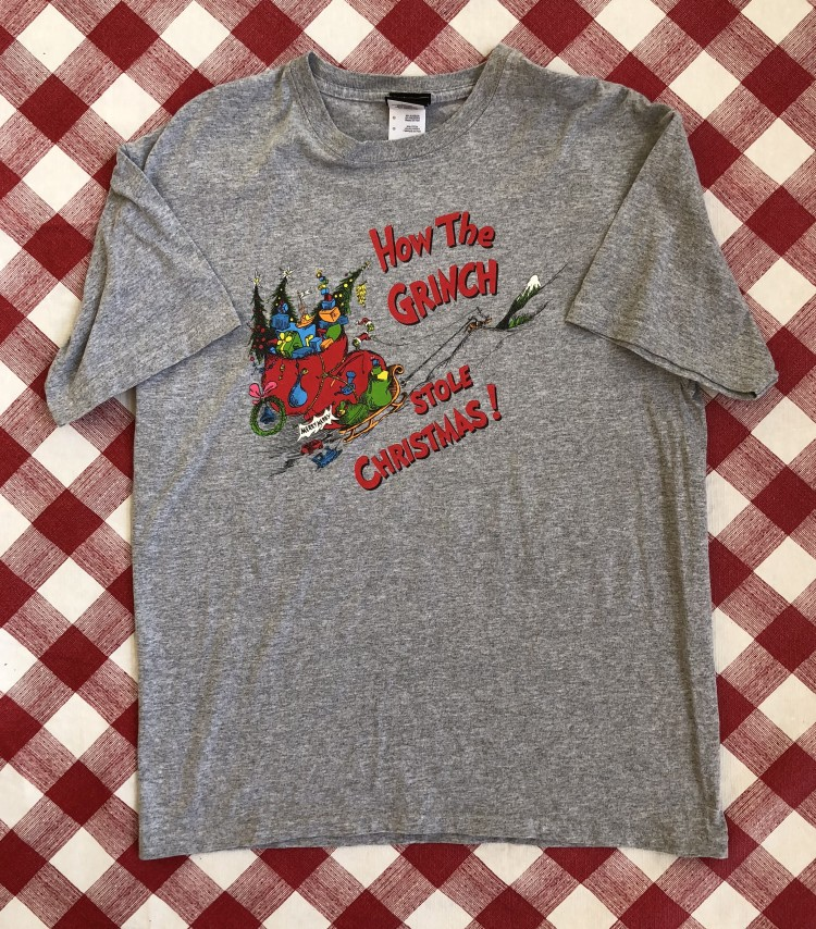 vintage 2001 Dr. Seuss how the grinch stole christmas grey t shirt size  large 37fa0bf9f