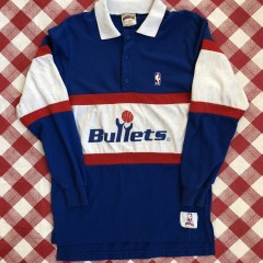 vintage 80's Washington Bullets Nutmeg NBA polo rugby shirt size medium