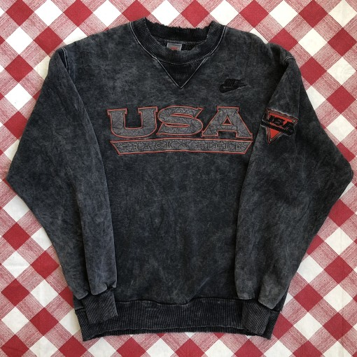 vintage 90's Team USA Track and field nike grey tag crewneck