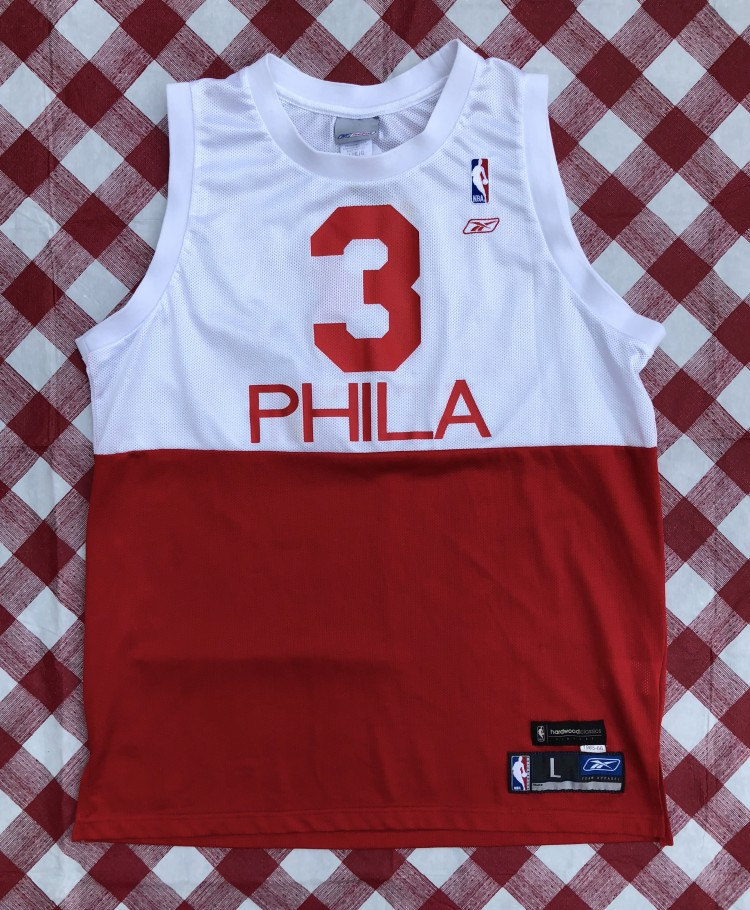 free shipping b68fb 36b4f 1965-66 Allen Iverson Philadelphia Sixers Reebok Hardwood Classic NBA  Jersey Size Large