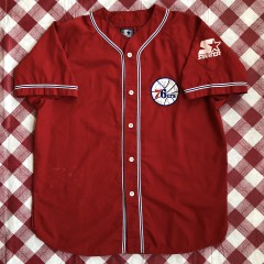 vintage 90's Philadelphia 76ers Sixers Starter NBA baseball jersey size large