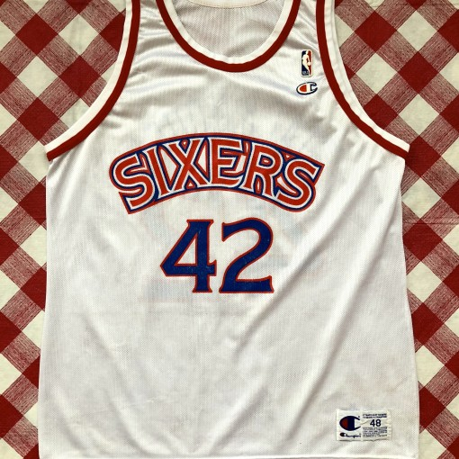 vintage 90's Philadelphia Sixers 76ers Jerry Stackhouse Champion NBA jersey size 48 XL white home