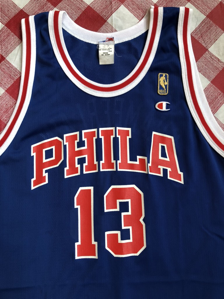 vintage 1997 Wilt Chamberlain Philadelphia Sixers 76ers Gold Logo Champion  50th anniversary retro NBA jersey size e3f39ba5c