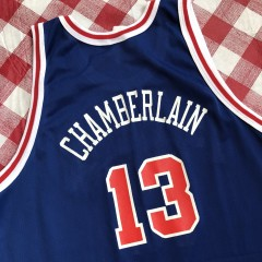 vintage 1997 Wilt Chamberlain Philadelphia Sixers 76ers Gold Logo Champion 50th anniversary retro NBA jersey size 48 XL