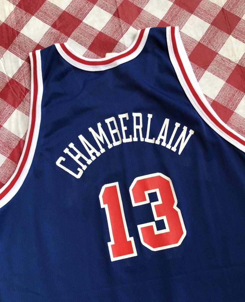 c6e6e6a08 vintage 1997 Wilt Chamberlain Philadelphia Sixers 76ers Gold Logo Champion  50th anniversary retro NBA jersey size