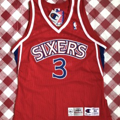 vintage 1996-97 Philadelphia Sixers 76ers Champion Authentic Allen Iverson red rookie nba jersey size 44 large