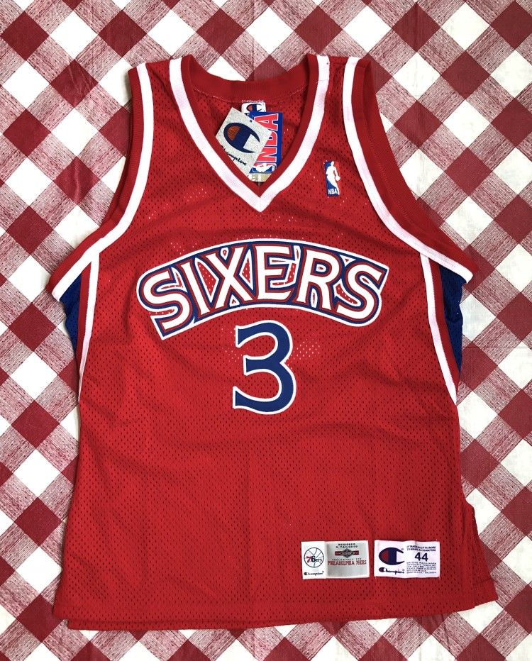 a9d9fb88 vintage 1996-97 Philadelphia Sixers 76ers Champion Authentic Allen Iverson  red rookie nba jersey size