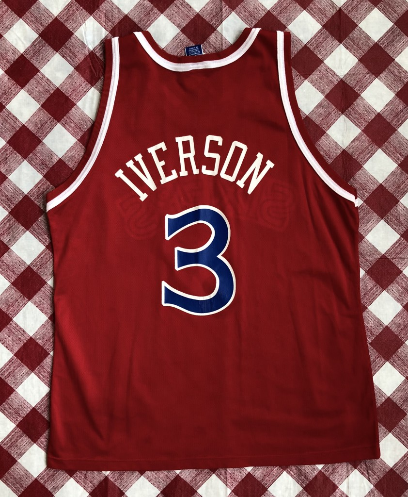 vintage 1996-97 Philadelphia Sixers 76ers Champion Allen Iverson red rookie nba  jersey size 48 eb948cae5