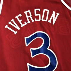 vintage 1996-97 Philadelphia Sixers 76ers Champion Allen Iverson red rookie nba jersey size 48 XL