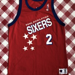 vintage 90's Philadelphia Sixers 76ers Moses Malone shooting stars champion NBA jersey size 48 XL