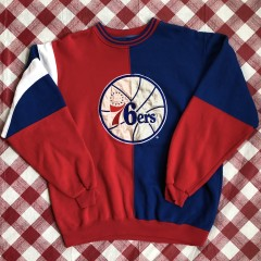 vintage 90's Philadelphia Sixers 76ers Starter Split NBA crewneck sweat shirt size large XL
