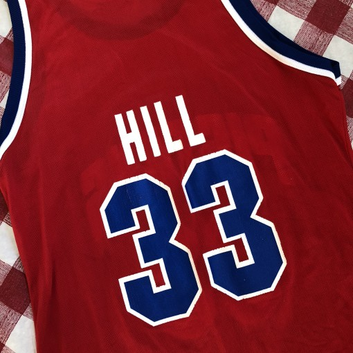 1995 Grant Hill Detriot Pistons Red Champion NBA Jersey Size 44