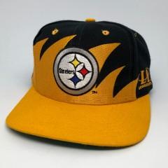 90's Pittsburgh Steelers Logo Athletic Sharktooth NFL Snapback Hat