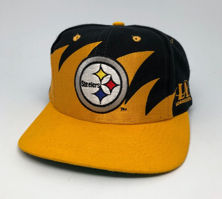 204c4405 90's Pittsburgh Steelers Logo Athletic Sharktooth NFL Snapback Hat