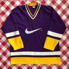 90's Nike Grey Tag Purple/Yellow Hockey Jersey Size Large