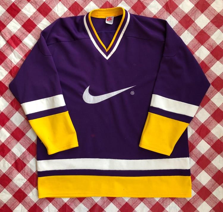 big sale 0d46b f05b1 90's Nike Grey Tag Purple/Yellow Hockey Jersey Size Large