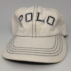 90's Polo Sport Spell Out 6 Panel Strapback Hat White