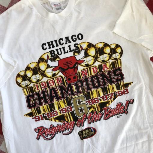 1998 Chicago Bulls 6 Time NBA Champions T Shirt Size XL
