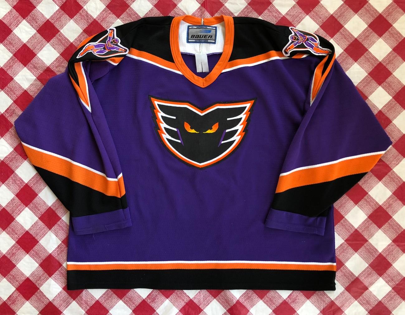 1996 Philadelphia Phantoms Bauer Purple AHL Jersey Size XXL  9a7fbdf12