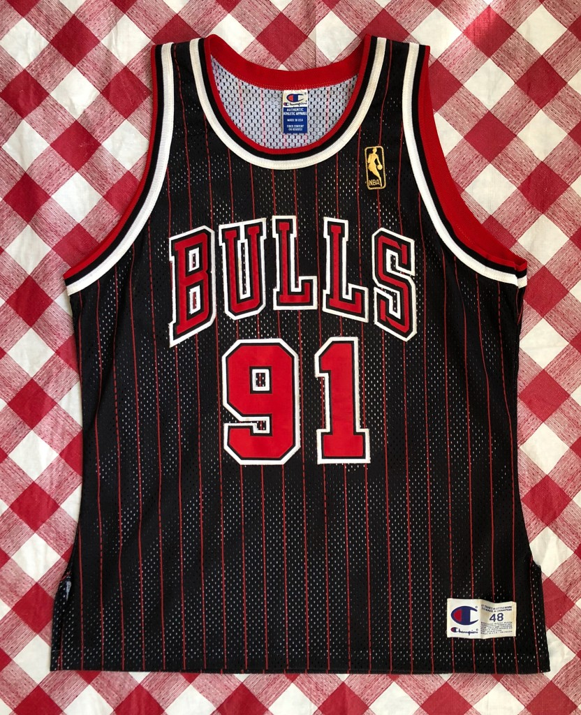 968817e33 1997 Dennis Rodman Chicago Bulls Authentic Gold Logo Champion NBA Jersey  Size 48