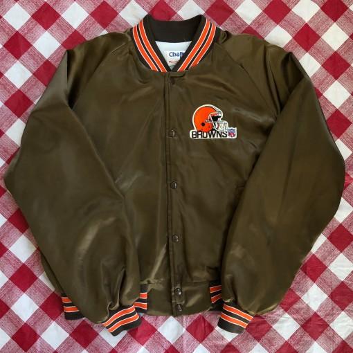 80's Cleveland Browns Chalkline NFL Satin Jacket Size XL