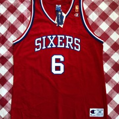 1997 Julius Erving Philadelphia Sixers 50th Anniversary Gold Champion NBA Jersey Size 48
