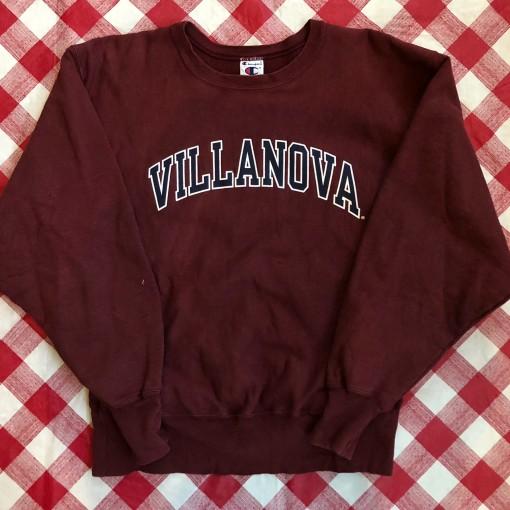 90's Villanova University NCAA Champion Maroon Reverse Weave Crewneck Sweatshirt
