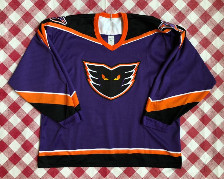 uk availability 4d45b 6879b 1996 Philadelphia Phantoms Bauer Purple AHL Jersey Size XL