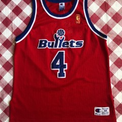 1997 Chris Webber Washington Bullets Champion Authentic Gold Logo NBA Jersey Size 48