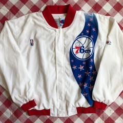 1991 Philadelphia Sixers 76ers Champion NBA Warm Up Jacket Size Large
