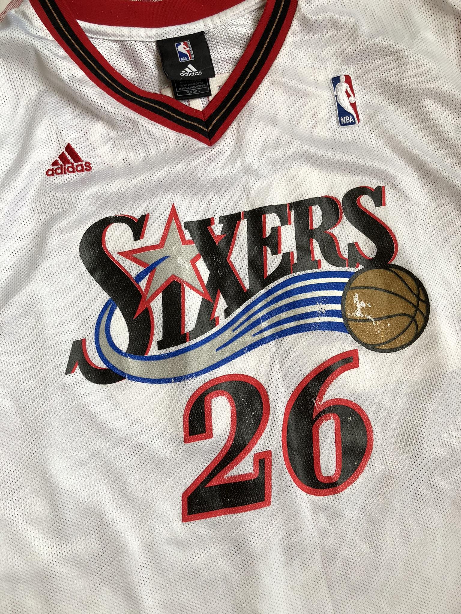 7d6a3f75 2005 Kyle Korver Philadelphia Sixers 76ers Adidas NBA Jersey Size XL ...