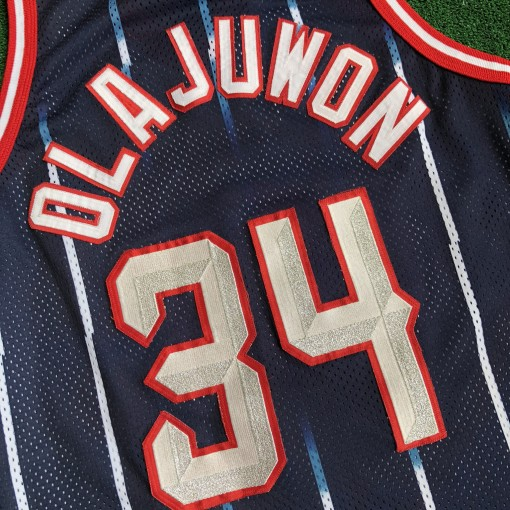 1997 Hakeem Olajuwon Houston Rockets Authentic Gold Logo Champion NBA Jersey Size 44