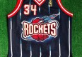 1997 Hakeem Olajuwon Houston Rockets Authentic Gold Logo Champion NBA Jersey Size 44