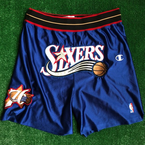 vintage 00's Philadelphia 76ers Sixers authentic Champion NBA shorts DON C Just don style customs blue