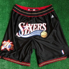 vintage 00's Philadelphia 76ers Sixers authentic Adidas NBA shorts DON C Just don style customs black