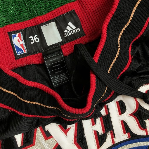 vintage 00's Philadelphia 76ers Sixers authentic Adidas NBA shorts DON C Just don style customs black